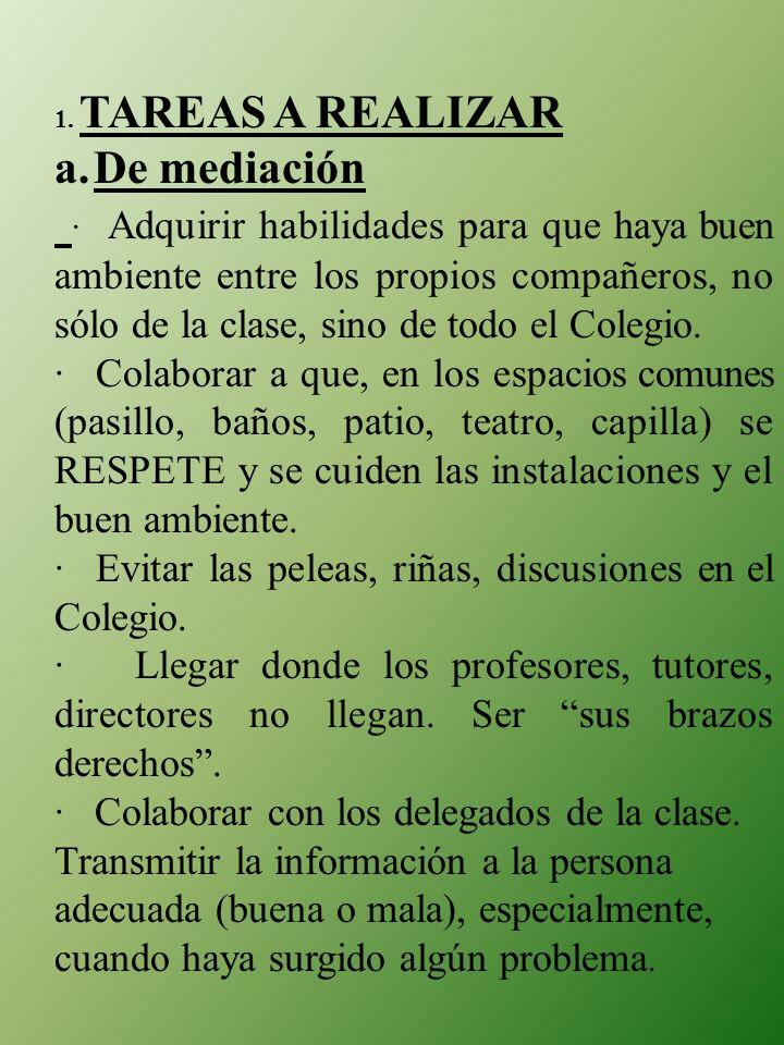 1. TAREAS A REALIZAR. a. De mediación.