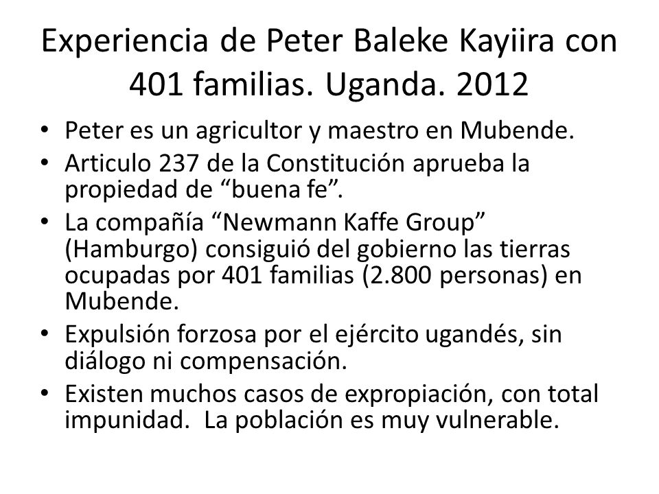 Experiencia de Peter Baleke Kayiira con 401 familias. Uganda. 2012