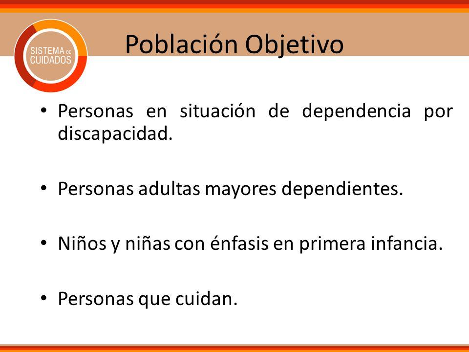 Población Objetivo Personas en situación de dependencia por discapacidad. Personas adultas mayores dependientes.