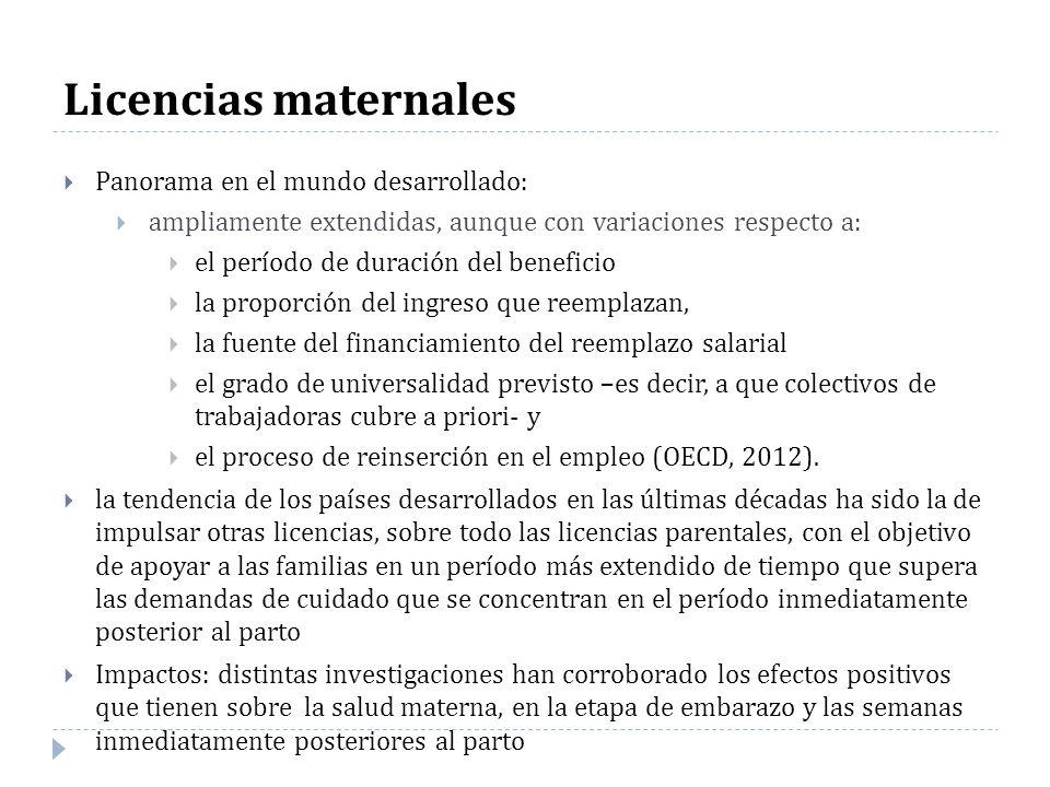 Licencias maternales Panorama en el mundo desarrollado: