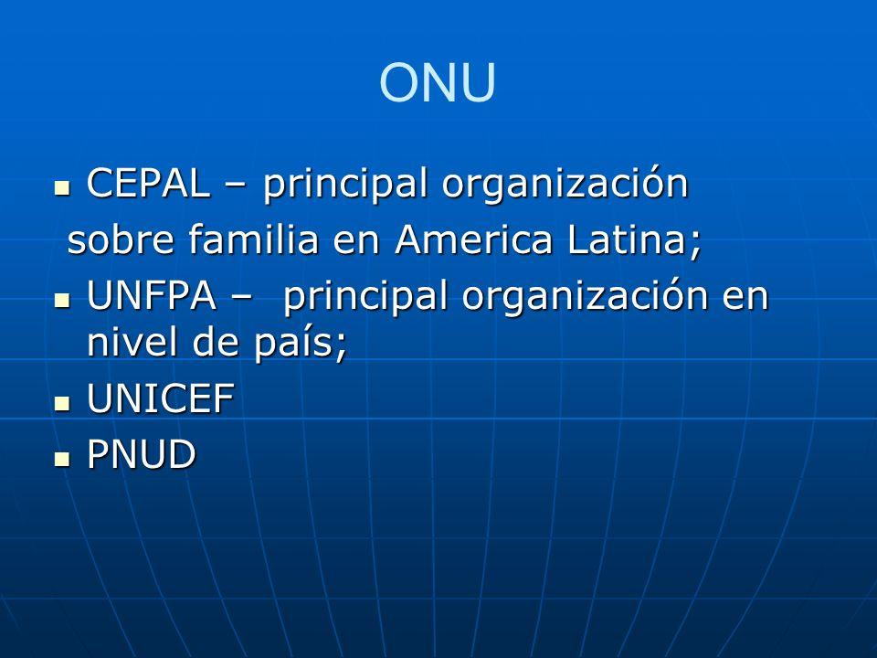 ONU CEPAL – principal organización sobre familia en America Latina;