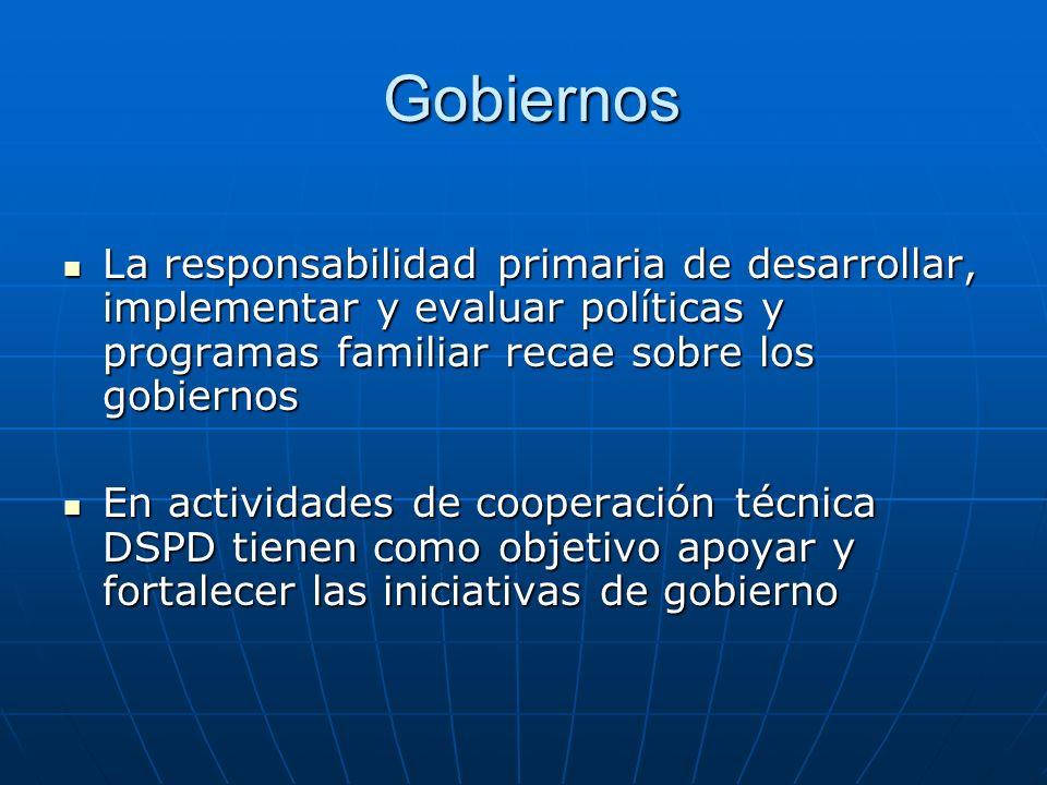 Gobiernos La responsabilidad primaria de desarrollar, implementar y evaluar políticas y programas familiar recae sobre los gobiernos.