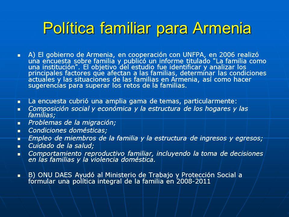 Política familiar para Armenia