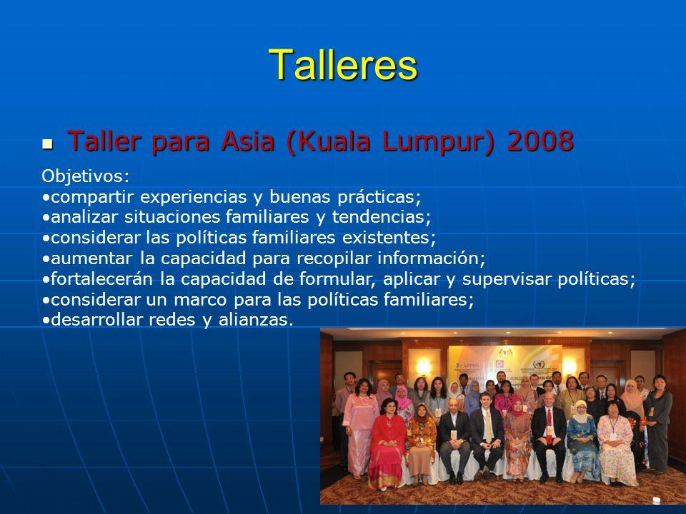Talleres Taller para Asia (Kuala Lumpur) 2008 Objetivos:
