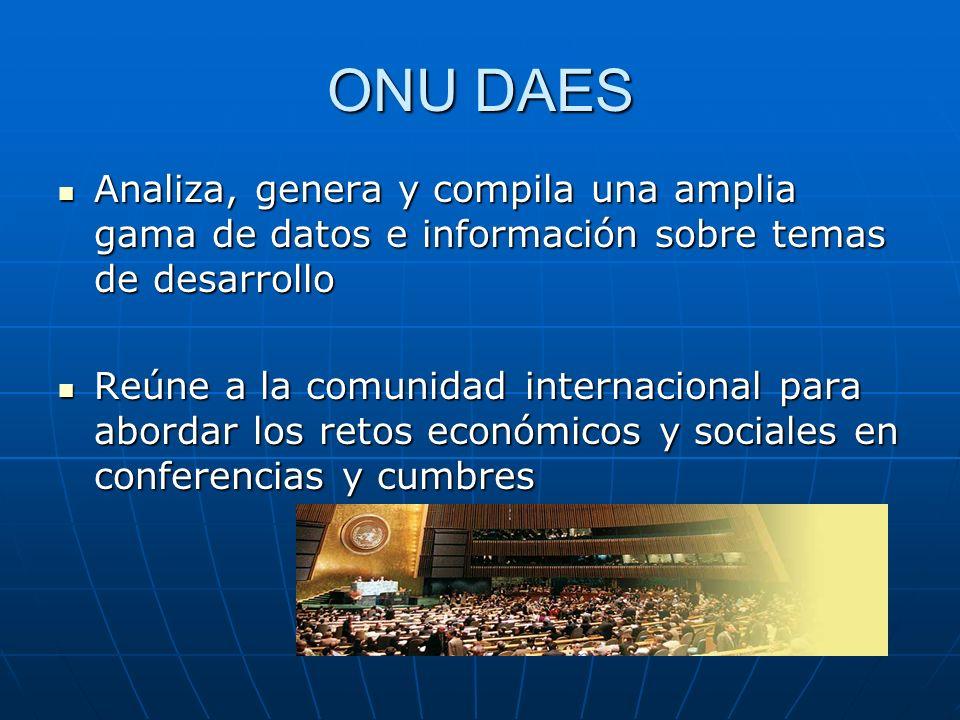 ONU DAES Analiza, genera y compila una amplia gama de datos e información sobre temas de desarrollo.