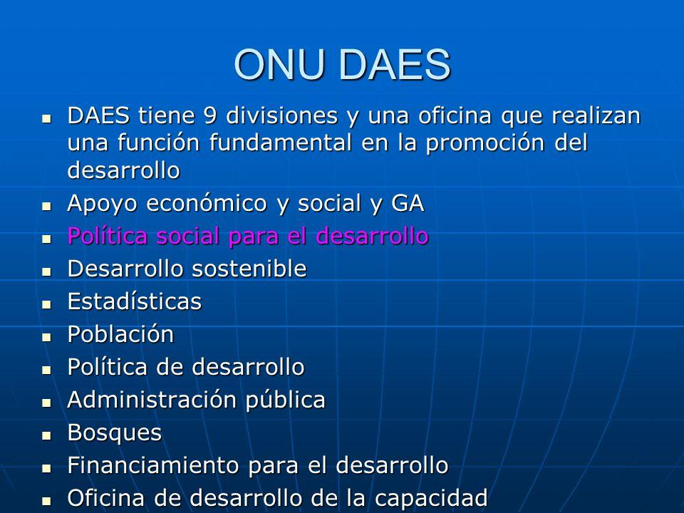 ONU DAES DAES tiene 9 divisiones y una oficina que realizan una función fundamental en la promoción del desarrollo.