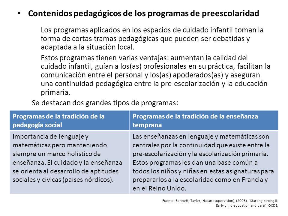 Contenidos pedagógicos de los programas de preescolaridad