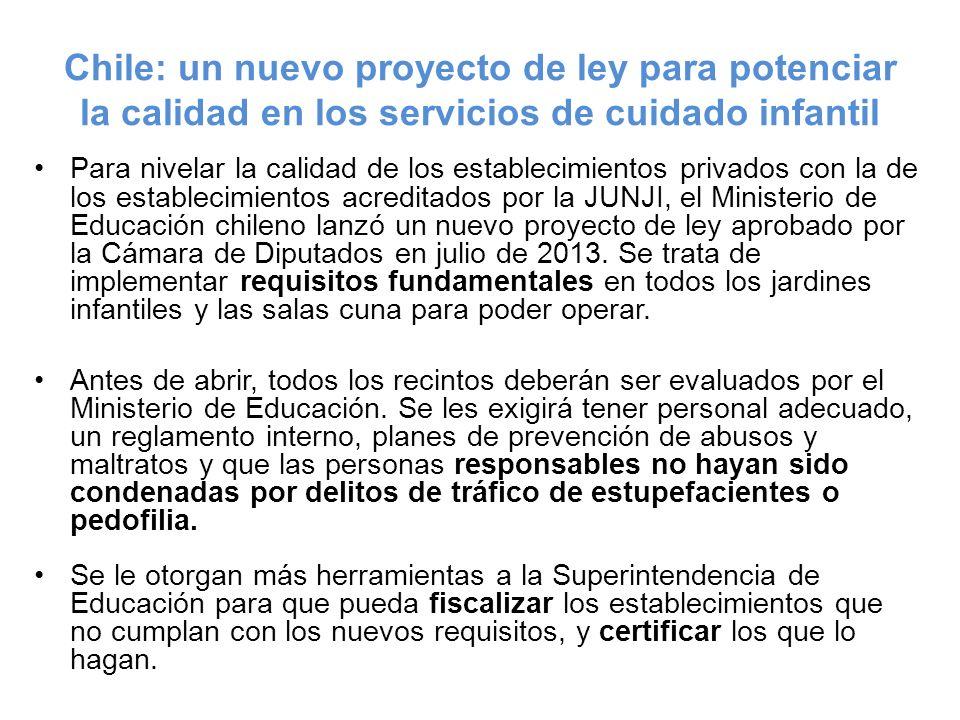 Chile: un nuevo proyecto de ley para potenciar la calidad en los servicios de cuidado infantil