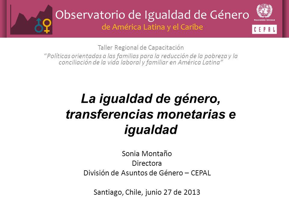 La igualdad de género, transferencias monetarias e igualdad