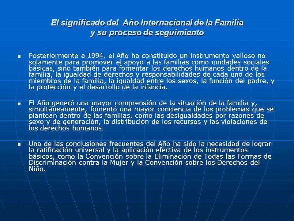 El significado del Año Internacional de la Familia y su proceso de seguimiento