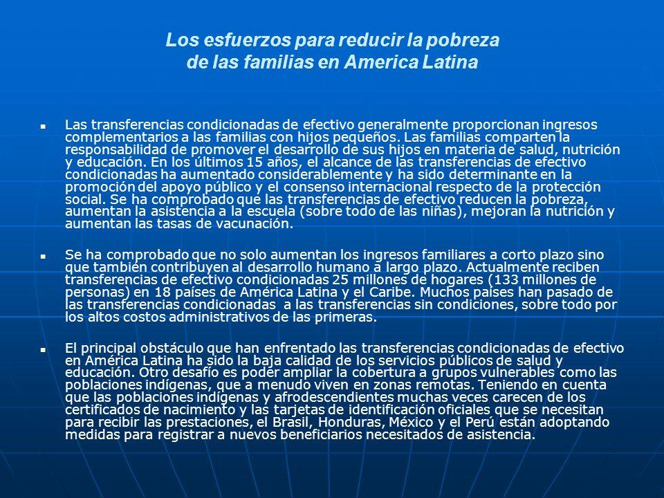 Los esfuerzos para reducir la pobreza de las familias en America Latina