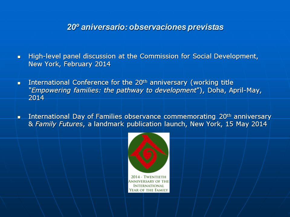 20º aniversario: observaciones previstas
