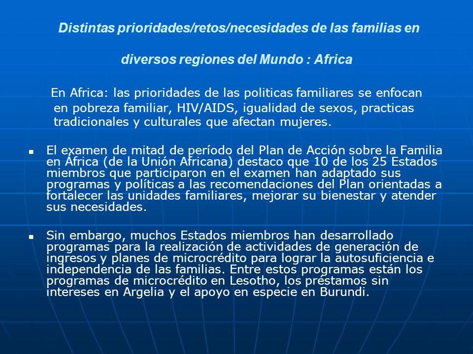 En Africa: las prioridades de las politicas familiares se enfocan