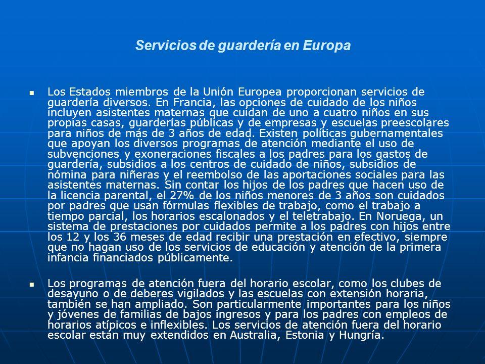 Servicios de guardería en Europa
