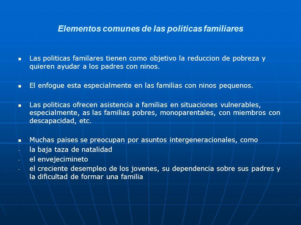 Elementos comunes de las politicas familiares
