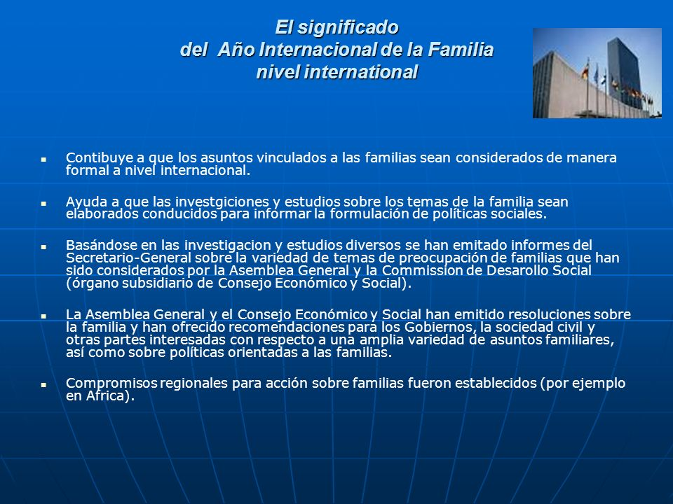 El significado del Año Internacional de la Familia nivel international