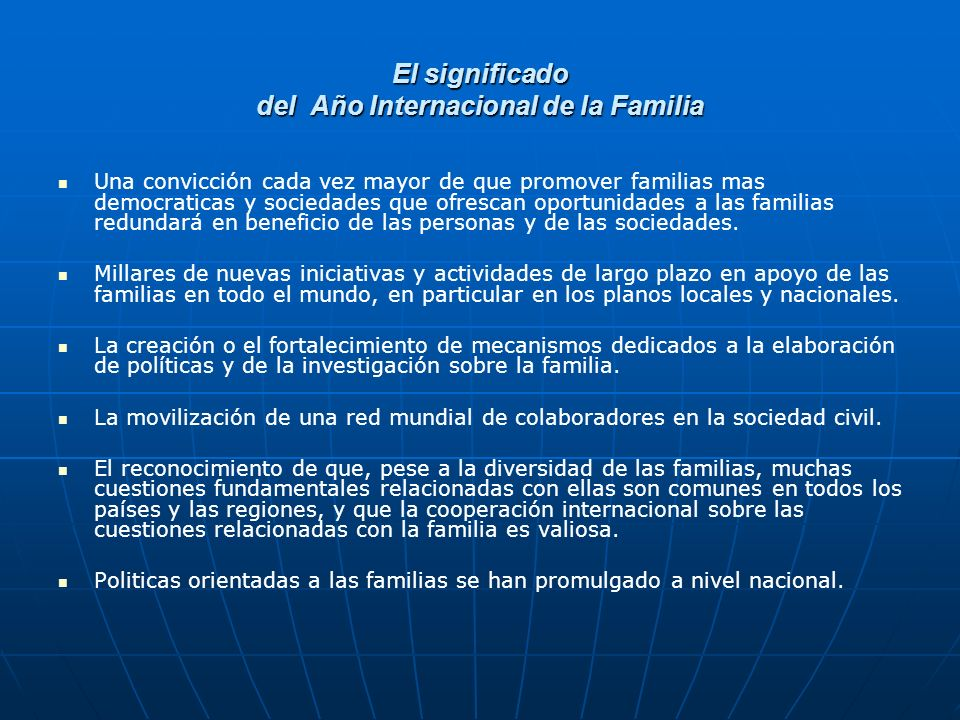 El significado del Año Internacional de la Familia