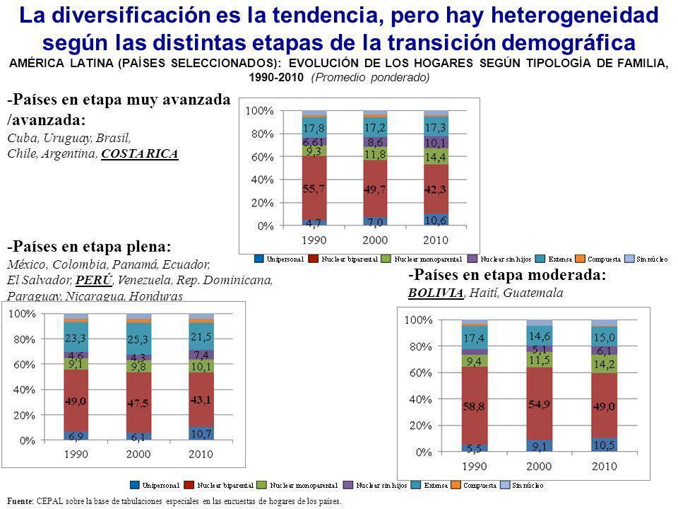 La diversificación es la tendencia, pero hay heterogeneidad según las distintas etapas de la transición demográfica AMÉRICA LATINA (PAÍSES SELECCIONADOS): EVOLUCIÓN DE LOS HOGARES SEGÚN TIPOLOGÍA DE FAMILIA, 1990-2010 (Promedio ponderado)
