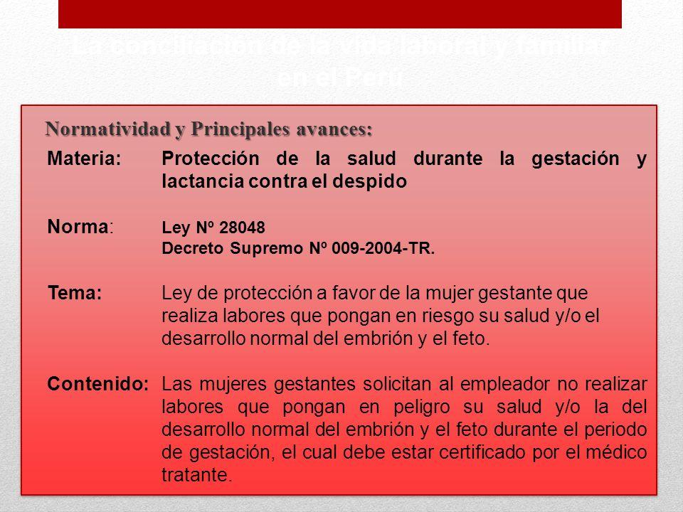 La conciliación de la vida laboral y familiar en el Perú