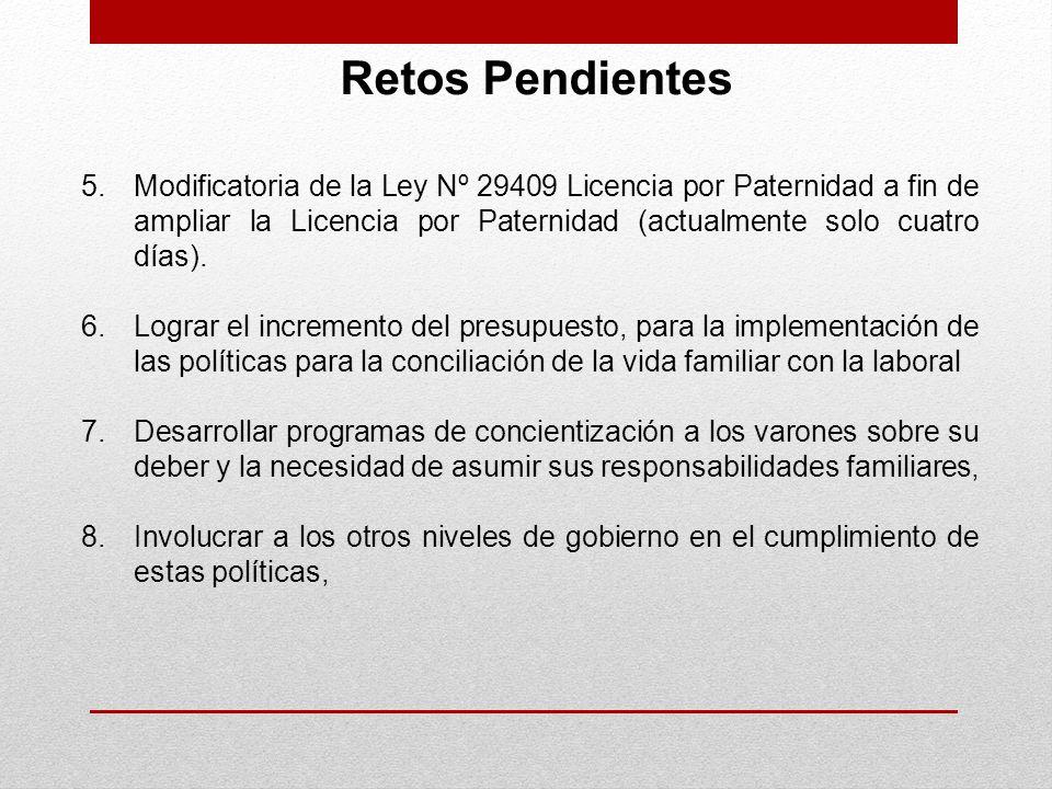 Retos Pendientes Modificatoria de la Ley Nº 29409 Licencia por Paternidad a fin de ampliar la Licencia por Paternidad (actualmente solo cuatro días).