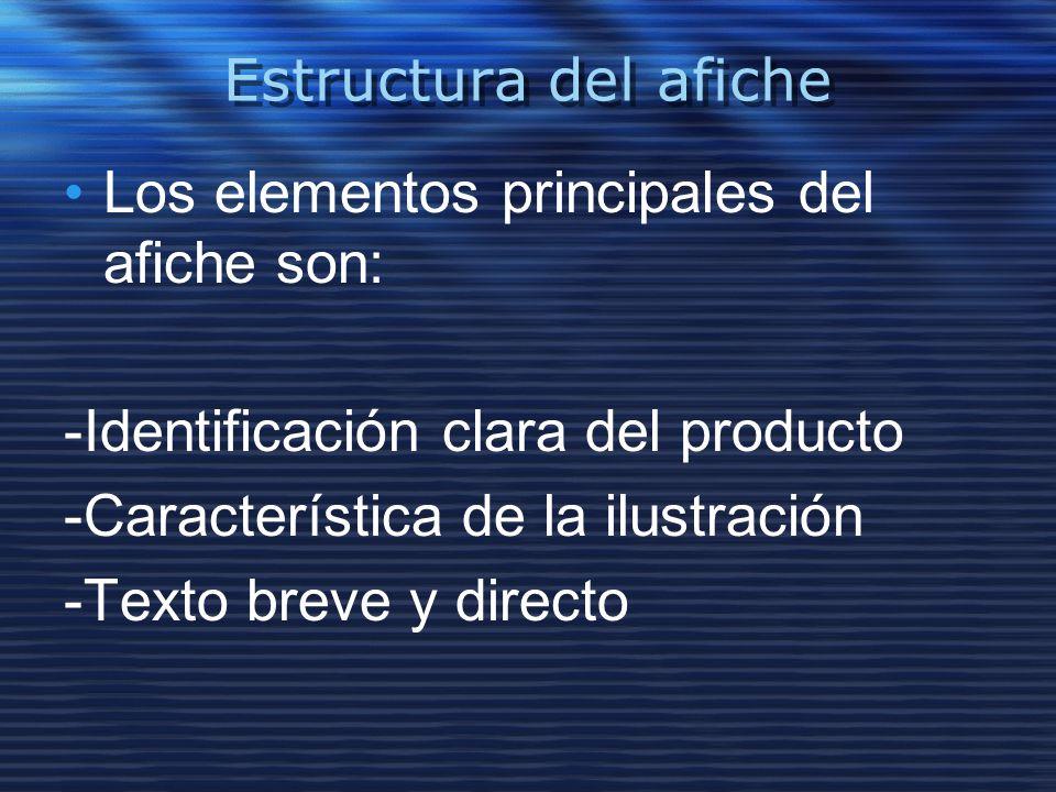 Estructura del afiche Los elementos principales del afiche son: -Identificación clara del producto.