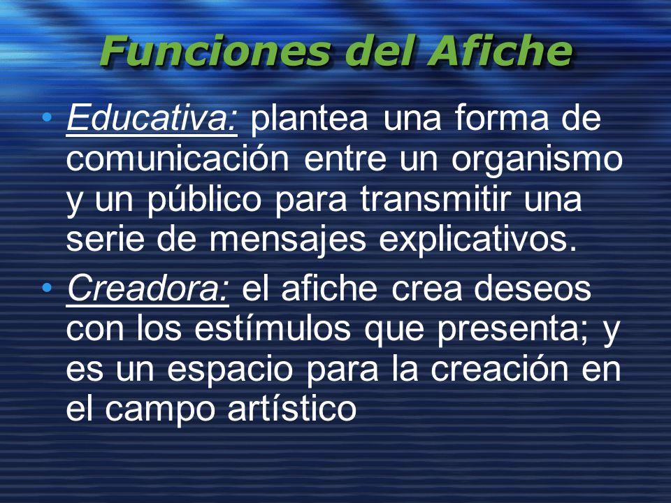 Funciones del Afiche Educativa: plantea una forma de comunicación entre un organismo y un público para transmitir una serie de mensajes explicativos.