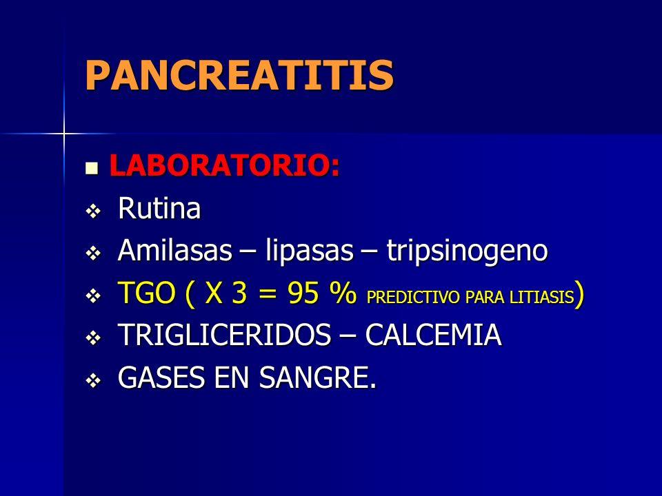 PANCREATITIS LABORATORIO: Rutina Amilasas – lipasas – tripsinogeno