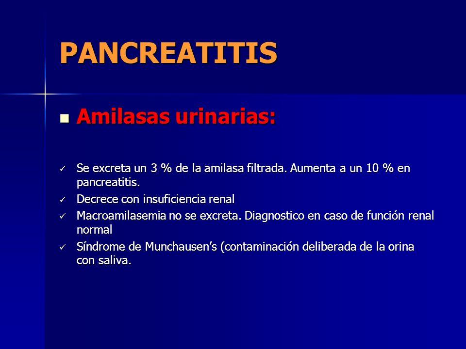 PANCREATITIS Amilasas urinarias: