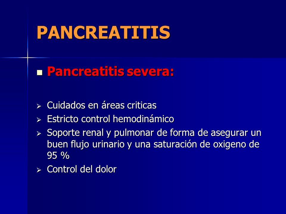 PANCREATITIS Pancreatitis severa: Cuidados en áreas criticas