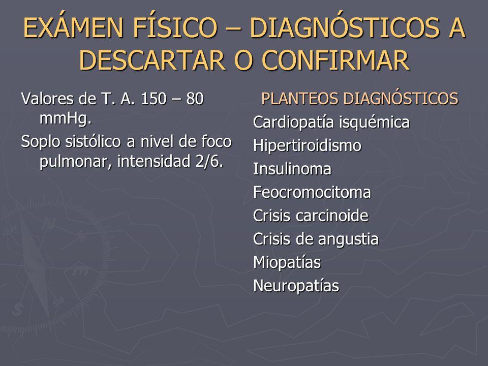 EXÁMEN FÍSICO – DIAGNÓSTICOS A DESCARTAR O CONFIRMAR