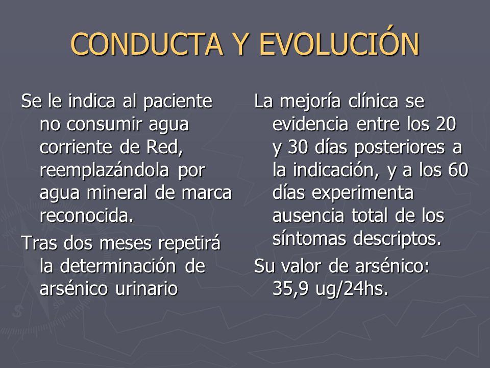 CONDUCTA Y EVOLUCIÓNSe le indica al paciente no consumir agua corriente de Red, reemplazándola por agua mineral de marca reconocida.