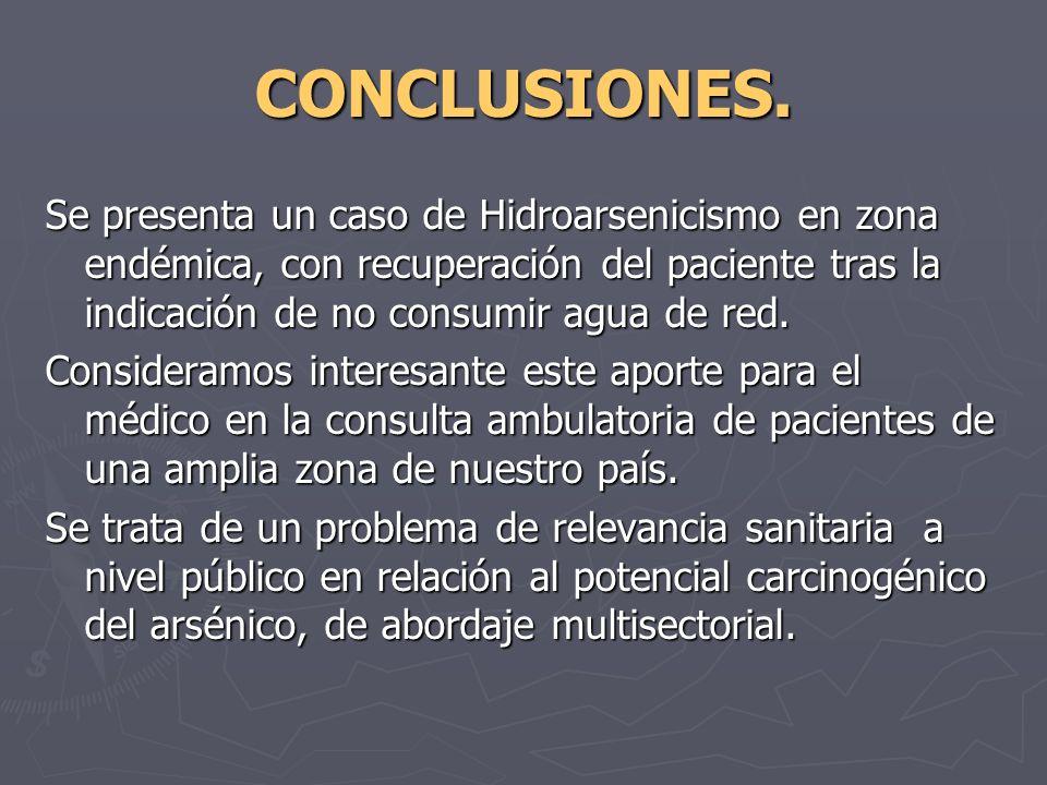 CONCLUSIONES.Se presenta un caso de Hidroarsenicismo en zona endémica, con recuperación del paciente tras la indicación de no consumir agua de red.