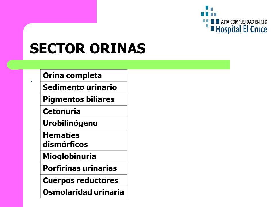 SECTOR ORINAS . Orina completa Sedimento urinario Pigmentos biliares