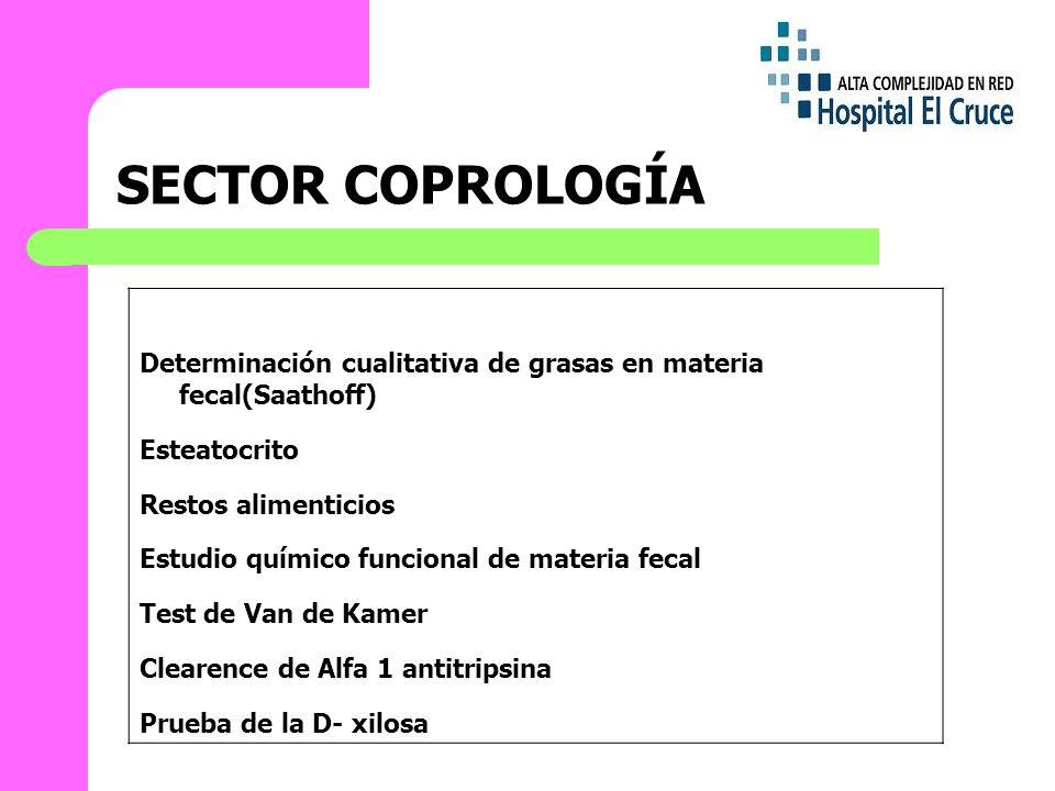 SECTOR COPROLOGÍA Determinación cualitativa de grasas en materia fecal(Saathoff) Esteatocrito. Restos alimenticios.