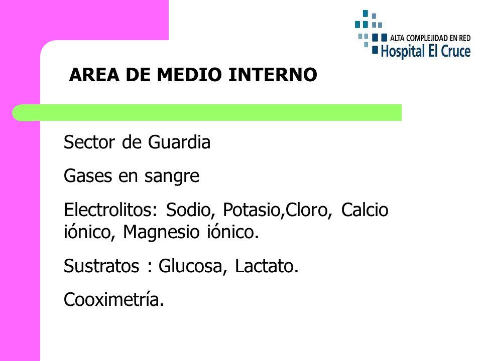 AREA DE MEDIO INTERNO Sector de Guardia. Gases en sangre. Electrolitos: Sodio, Potasio,Cloro, Calcio iónico, Magnesio iónico.