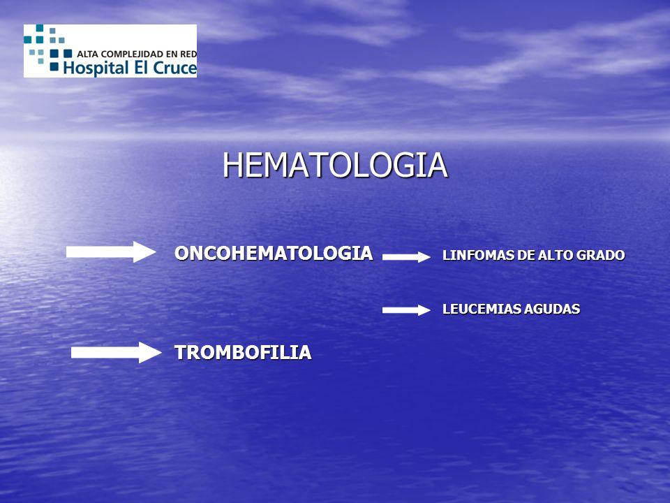 HEMATOLOGIA ONCOHEMATOLOGIA LINFOMAS DE ALTO GRADO LEUCEMIAS AGUDAS