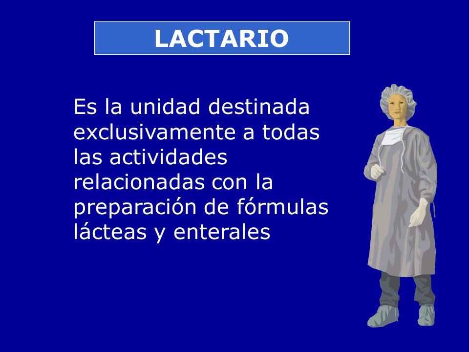 LACTARIO Es la unidad destinada exclusivamente a todas las actividades relacionadas con la preparación de fórmulas lácteas y enterales.