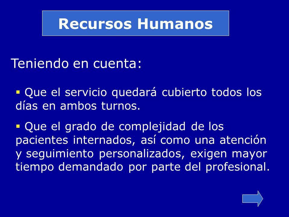 Recursos Humanos Teniendo en cuenta: