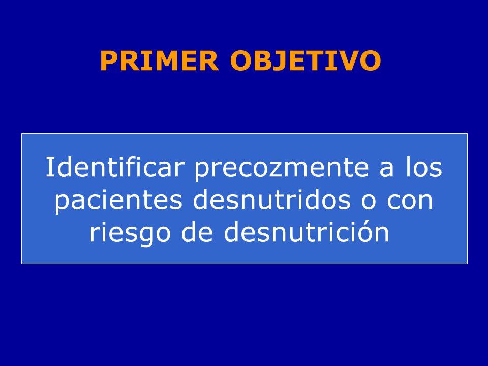 Identificar precozmente a los pacientes desnutridos o con