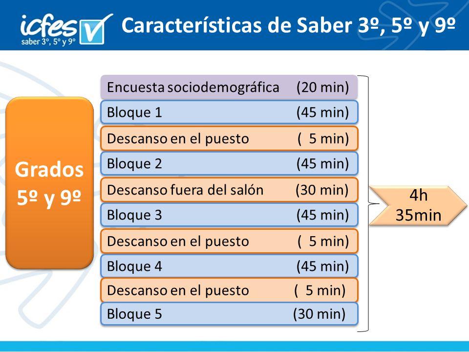 Características de Saber 3º, 5º y 9º
