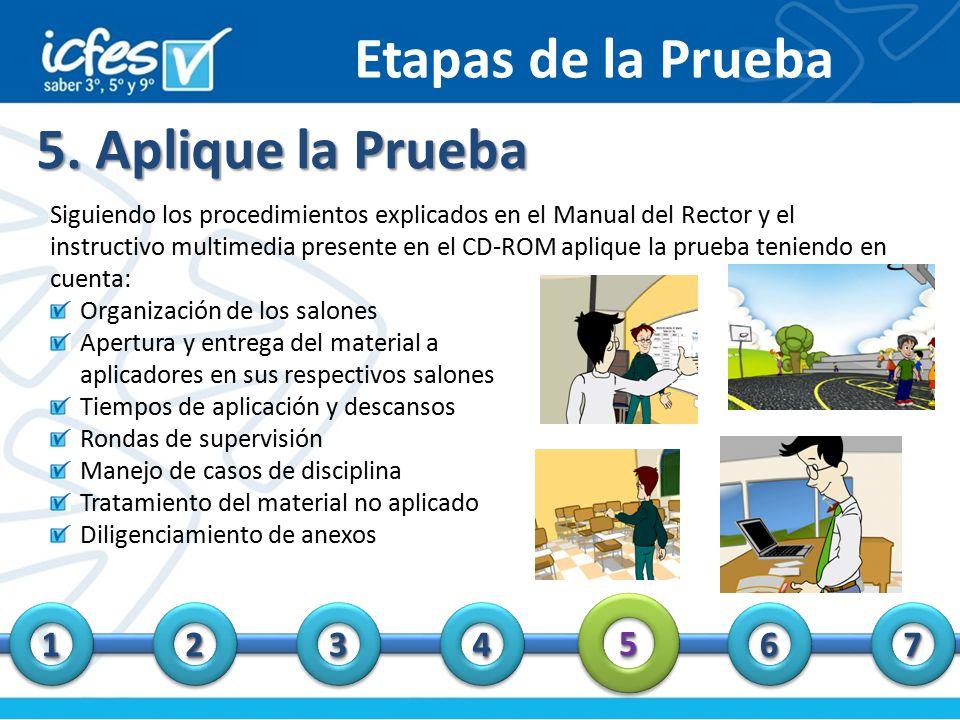 Etapas de la Prueba 5. Aplique la Prueba 5 1 2 3 4 6 7