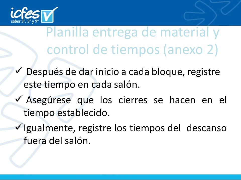 Planilla entrega de material y control de tiempos (anexo 2)