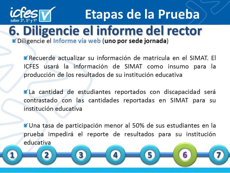 6. Diligencie el informe del rector