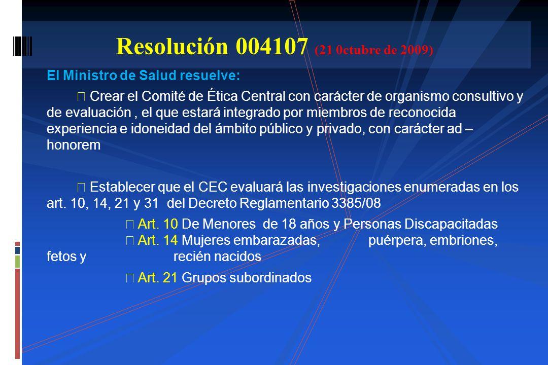 Resolución 004107 (21 0ctubre de 2009)
