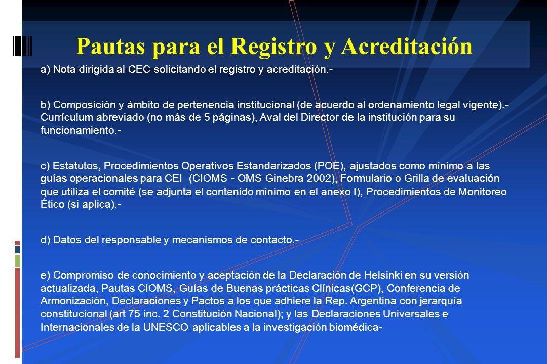Pautas para el Registro y Acreditación