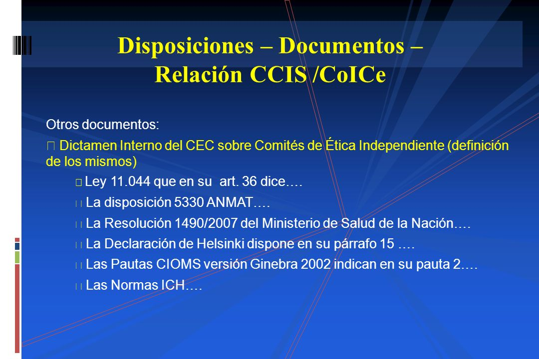 Disposiciones – Documentos – Relación CCIS /CoICe