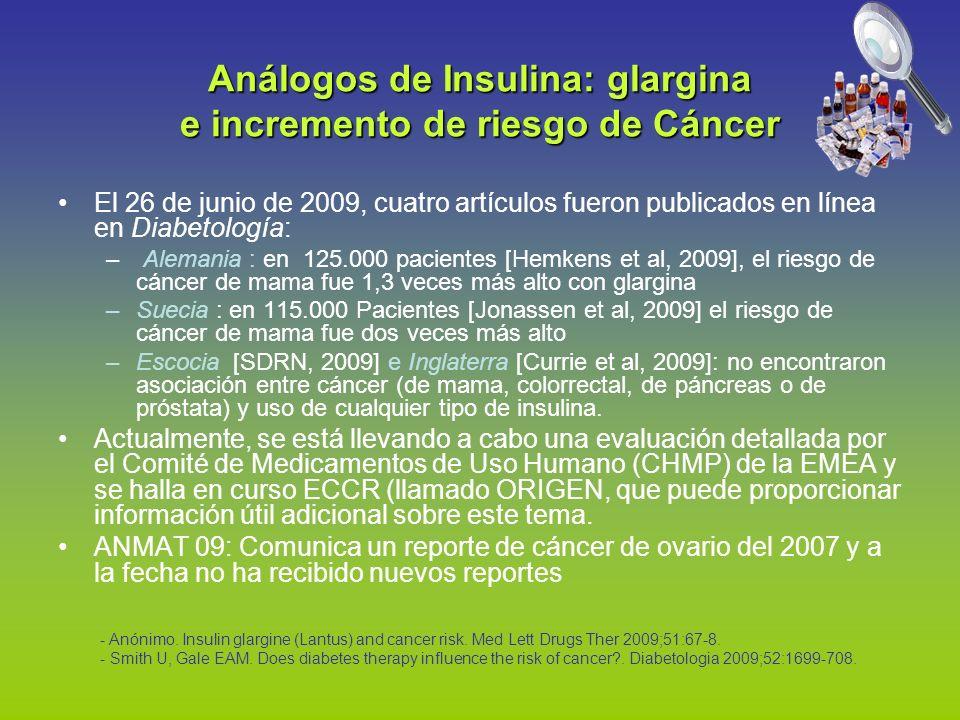 Análogos de Insulina: glargina e incremento de riesgo de Cáncer