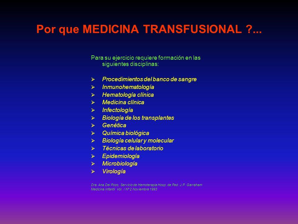 Por que MEDICINA TRANSFUSIONAL ...