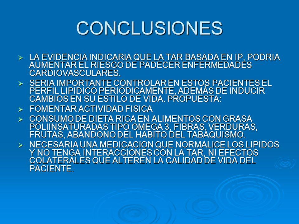 CONCLUSIONESLA EVIDENCIA INDICARIA QUE LA TAR BASADA EN IP, PODRIA AUMENTAR EL RIESGO DE PADECER ENFERMEDADES CARDIOVASCULARES.