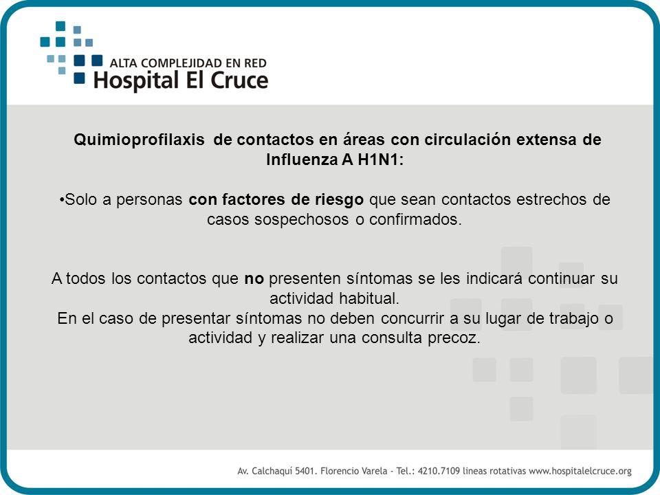 Quimioprofilaxis de contactos en áreas con circulación extensa de Influenza A H1N1: